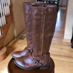 Dolce vita faux leather caramel brown riding boot
